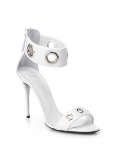 Giuseppe Zanotti white leather grommet ankle sandals