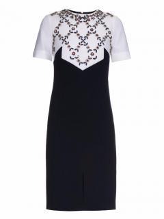 ERDEM navy beads-embellished wool dress