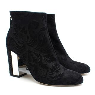 Atiana Black Patterned Suede Ankle Boots