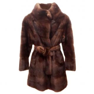 Bespoke honey brown mink fur coat
