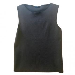 Akris chocolate brown silk sleeveless knit top size 10