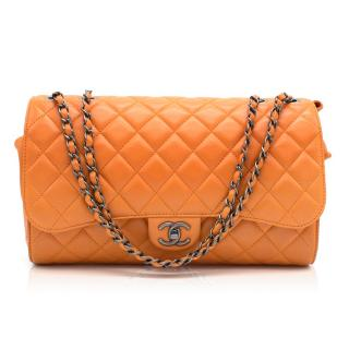 Chanel Orange Flap Bag with Drawstring Closure