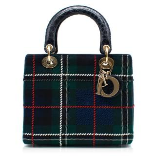 Lady Dior Green Tartan Bag with Croc Handles
