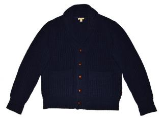Burberry men's navy lambswool leather trim knit cardigan