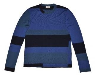 Acne Men's Bue Abstract Cotton Crew Neck Sweater