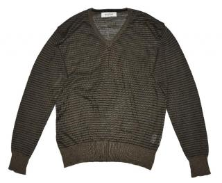 Pal Zileri brown striped wool alpaca cashmere sweater