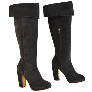 Rupert Sanderson Grey Pewter Crosta Knee Boots