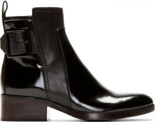 3.1 Phillip Lim Black Pebbled & Buffed Pacha Buckle Boots