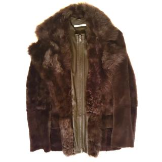 Yves Saint Laurent soft leather and fur coat
