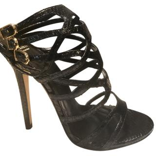 Versace black cage sandals
