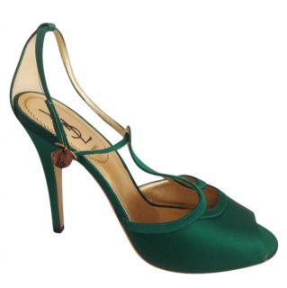 Yves Saint Laurent green silk heeled sandals