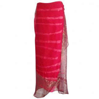 Voyage red velvet &silk maxi wrap skirt