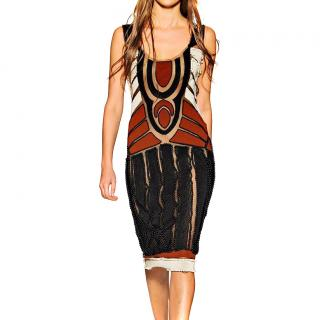 Alberta Ferretti beaded mesh tribal dress