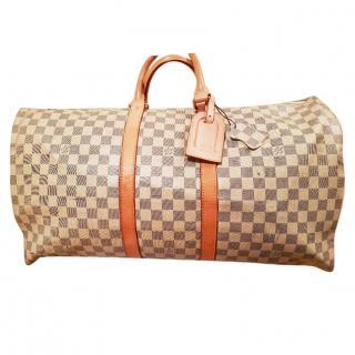 Louis Vuitton Cream Damier Azur Keepall 55