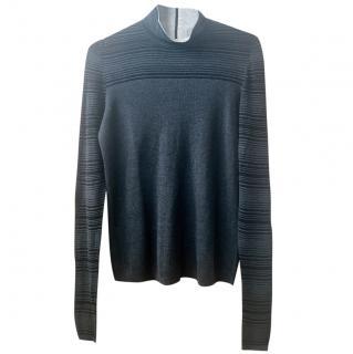 Akris charcoal grey fine silk knit top size 12