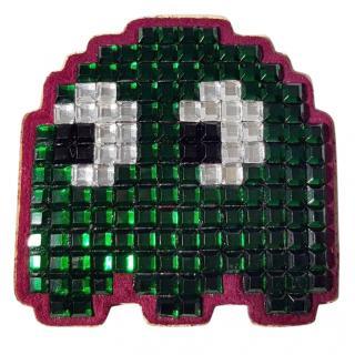 Anya Hindmarch Sticker Shop Handbag Charm PAC-MAN Ghost with Crystals
