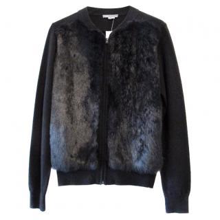 Vince Black Rabbit & Yak Wool Bomber Style Jacket