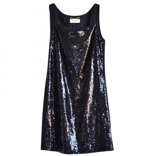 Saint Laurent black sequined mini dress