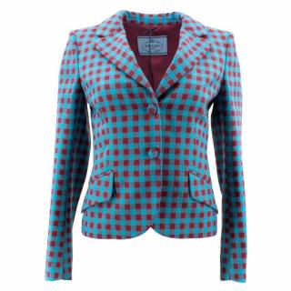 Prada Blue and Red Chequered Wool Jacket