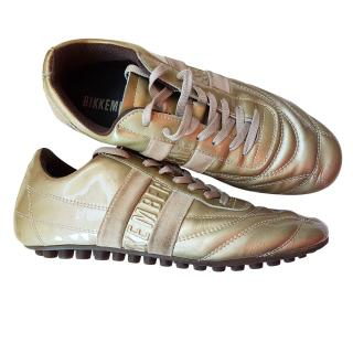 Bikkembergs Gold Leather Trainers