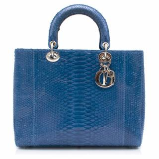 Lady Dior Electric Blue Python Tote Bag