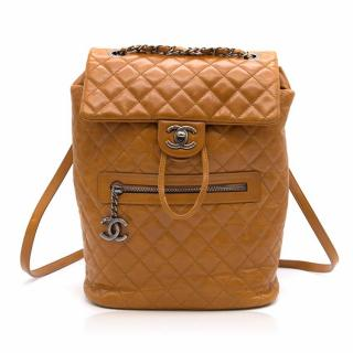 Chanel Brown Calf Leather Backpack