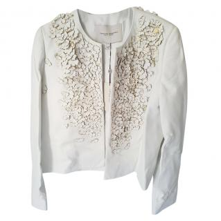 Carolina Herrera New York leather biker jacket with floral application