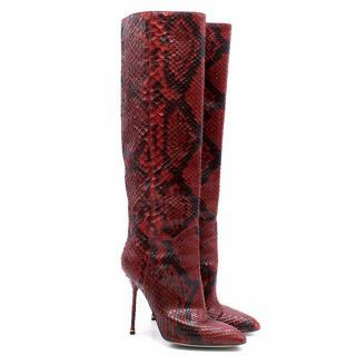 Sergio Rossi Python Heeled Boots