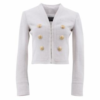 Balmain White Cropped Jacket