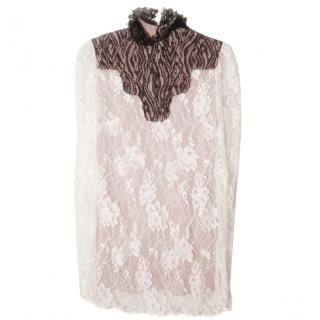 Lanvin Bi-color Lace top Winter 2016 colection