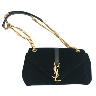 Saint Laurent Velvet Monogram Bag