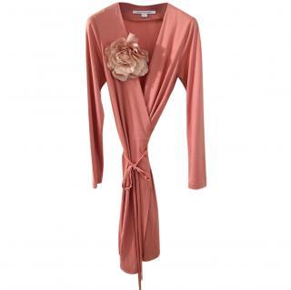 Diane von F�rstenberg salmon wrap dress