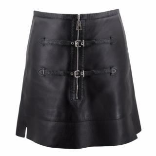 Louis Vuitton Black Leather A- Line Skirt