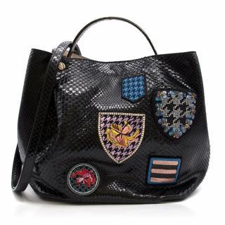 Christian Dior Large 'Diorific' Shiny Python Bucket Bag