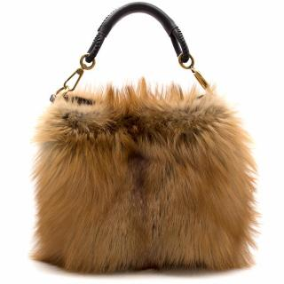 Christian Dior Brown Fox Fur Tote Bag