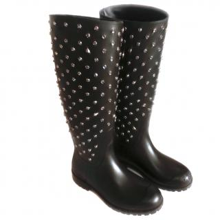 Saint Laurent Wellington boots with encrusted Swarowsky crystals
