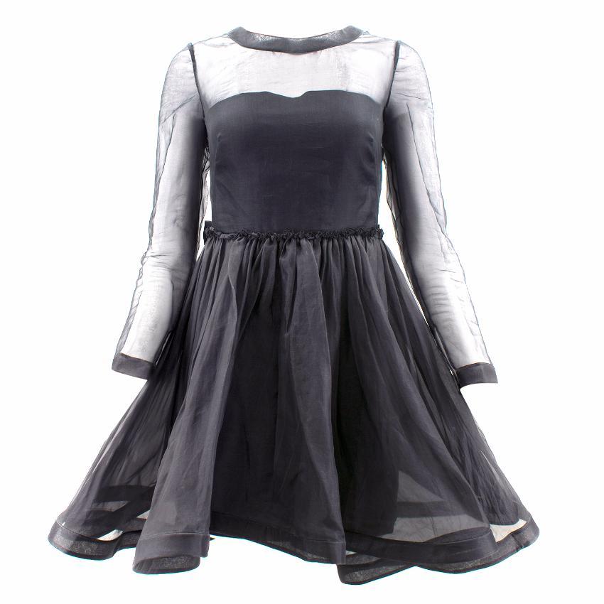 Valentino Black Silk Dress with Flounce Skirt
