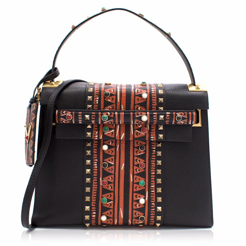 Valentino Black Painted My Rockstud Top Handle Bag