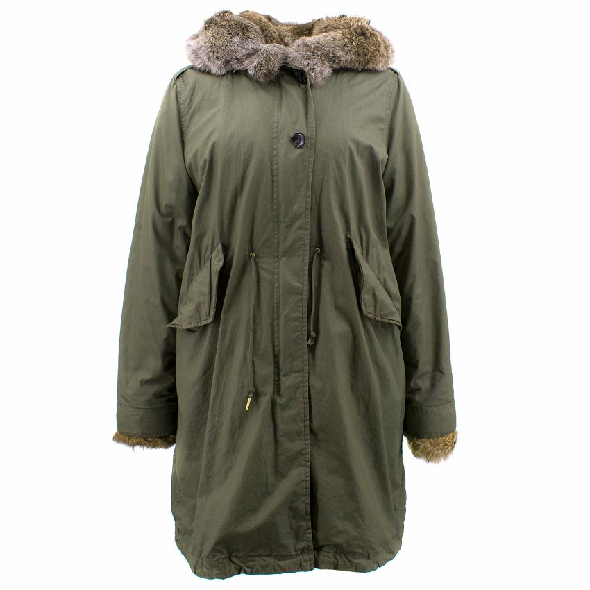 Woolrich Green Coat with Rabbit Fur Hood