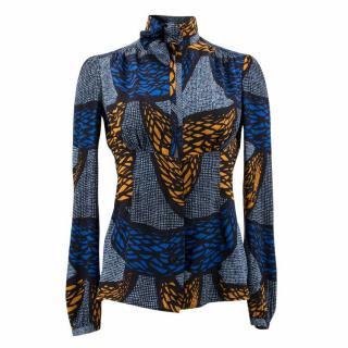 Burberry Prorsum Blue Patterned Silk Blouse