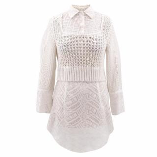 Ermano Scervino White Silk and Knit Blouse