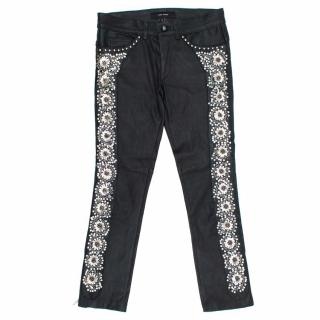 Isabel Marant Black Leather Embroidered Trousers