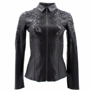 Jitrois Black Leather Sequinned Jacket