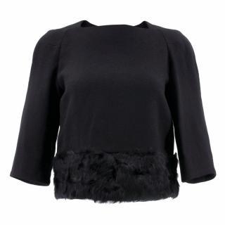 Dries Van Noten Black Wool Top with Fur Hem