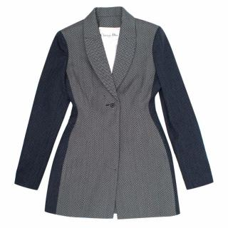 Christian Dior Grey Wool Coat with Navy Sleeves