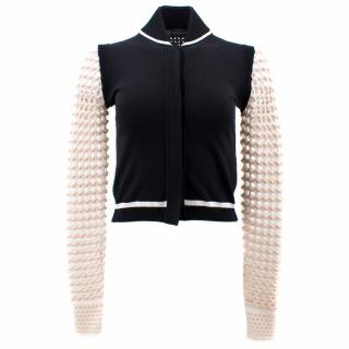 Versace Black and White Textured Bomber Jacket