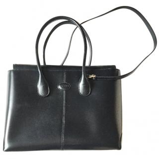 Tod's navy classic D bag with strap