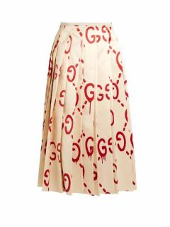 Gucci Ghost Monogram Silk Pleated Skirt
