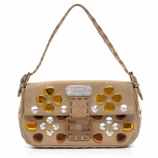 Fendi Brown Baguette with Crystals