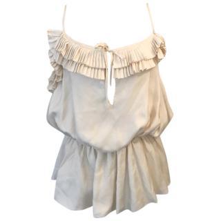 Loewe white silk top UK 8